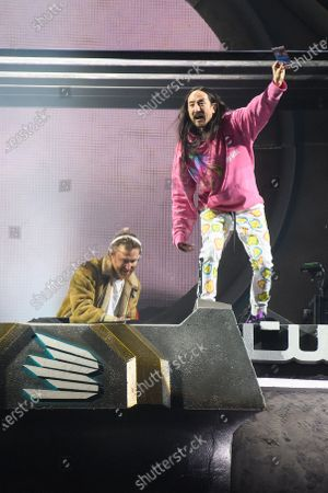 David Guetta and Steve Aoki during MDL Beast, a three-day festival in Riyadh, Saudi Arabia, bringing together the best in music, performing arts and culture.