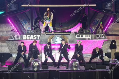 Monsta X and Steve Aoki performing at MDL Beast, a three-day festival in Riyadh, Saudi Arabia, bringing together the best in music, performing arts and culture.