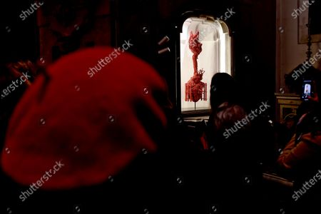 A view of an artwork by Belgian artist Jan Fabre made of coral on display in the exhibition 'La Purezza della Misericordia'  (Purity of marcy) hosted in the Cappella del Pio Monte della Misericordia, in Naples, Italy, 19 December 2019. The exhibition opens to public on 21 December.