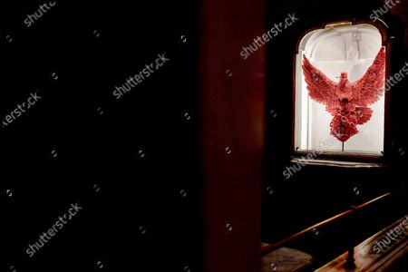 Stock Photo of A view of an artwork by Belgian artist Jan Fabre made of coral on display in the exhibition 'La Purezza della Misericordia'  (Purity of marcy) hosted in the Cappella del Pio Monte della Misericordia, in Naples, Italy, 19 December 2019. The exhibition opens to public on 21 December.
