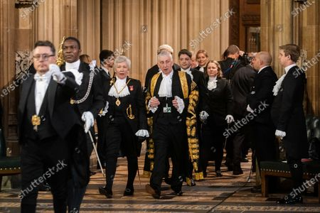 Black Rod Sarah Clarke and Speaker of the House of Commons Lindsay Hoyle walk through the central lobby at the State Opening of Parliament