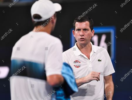 Tim Henman of Team Great Britain watches on during Cameron Norrie's men's singles match