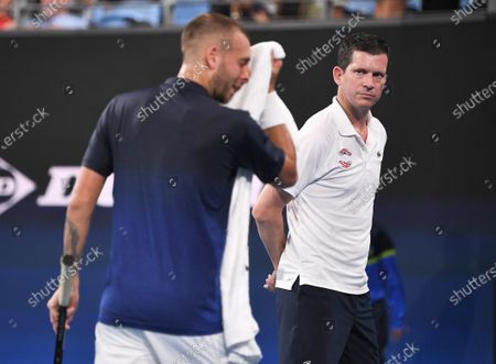 Daniel Evans of Team Great Britain and Tim Henman during his men's singles match