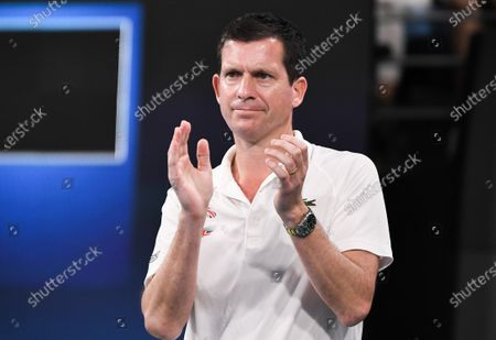 Tim Henman of Team Great Britain watching Cameron Norrie play in his men's singles match