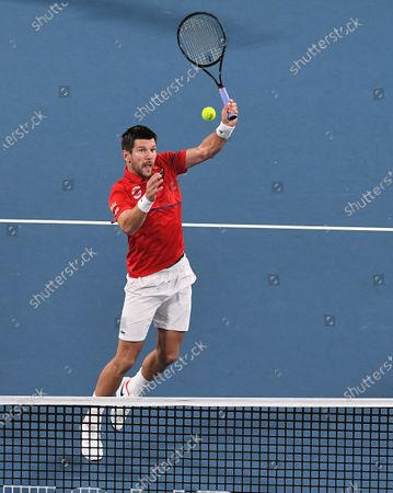 Oliver Marach of Team Austria in action during his men's doubles match