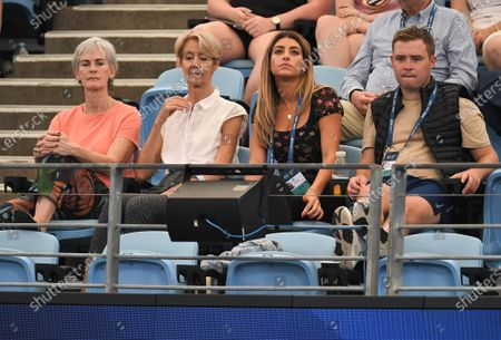 Stock Picture of Judy Murray (left) and Eleah Haji (second right) watch as Daniel Evans of Team Great Britain plays his men's singles match against Radu Albot of Team Moldova