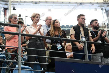 Judy Murray (left) and Eleah Haji (centre) reacts as Daniel Evans of Team Great Britain wins his men's singles match against Radu Albot of Team Moldova