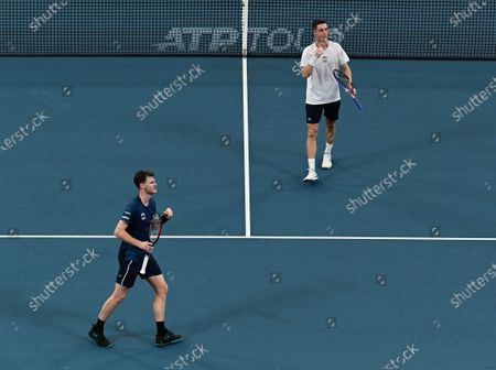 Stock Picture of Jamie Murray and Joe Salisbury of Team Great Britain celebrates victory after their men's doubles match against Radu Albot and Alexander Cozbinov of Team Moldova