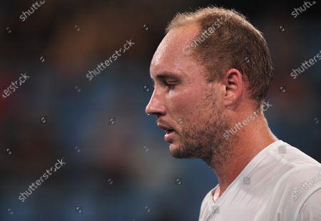 Stock Image of Steve Darcis of Team Belgium looks dejected during his men's singles match