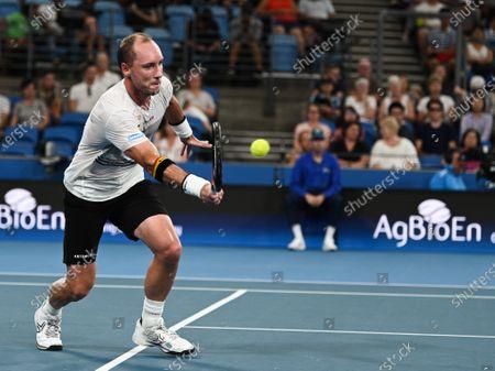 Steve Darcis of Team Belgium in action during his men's singles match