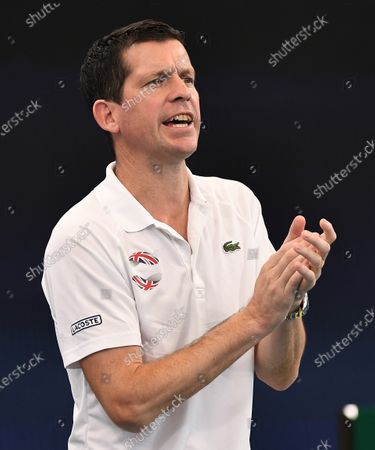 Tim Henman of Team Great Britain during Cameron Norrie's men's singles match