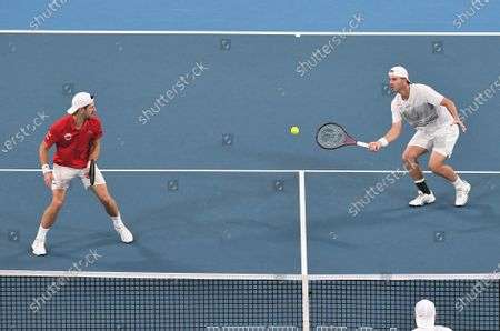 Oliver Marach and Jurgen Melzer of Team Austria in action during their men's doubles