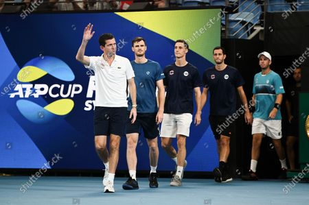 Tim Henman leading out Team Great Britain ahead of their quarter final against Team Australia
