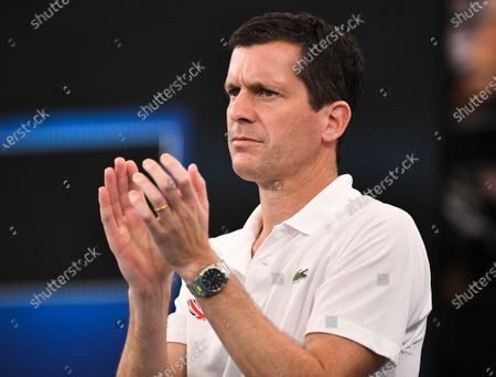 Tim Henman watching Cameron Norrie of Team Great Britain during his quarter final singles match