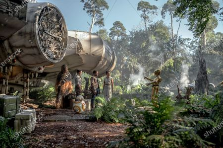 Joonas Suotamo as Chewbacca, Oscar Isaac as Poe Dameron, BB-8 (Brian Herring/Dave Chapman), John Boyega as Finn, Daisy Ridley as Rey and Anthony Daniels as C-3PO