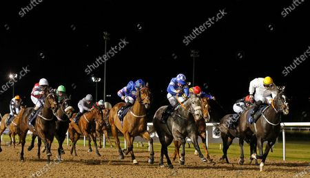 Stock Picture of KATHEEFA (2nd right, James Sullivan) beats STORM OVER (right) and DOUBLE UP (centre) in The Betway Handicap Wolverhampton
