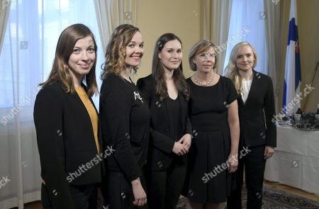 Stock Image of Minister of Education Li Andersson, Minister of Finance Katri Kulmuni, Prime Minister Sanna Marin, Minister of Interior Maria Ohisalo, Minister of Justice Anna-Maja Henriksson and Minister of Interior Maria Ohisalo posing during a photo session at the Government Palace in Helsinki