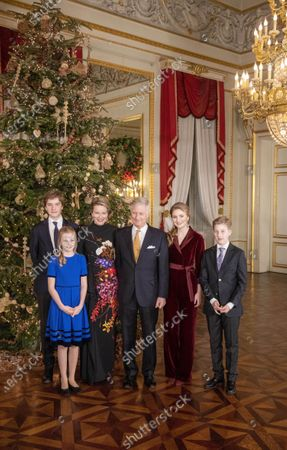 Stock Picture of Queen Mathilde, King Philippe, Crown Princess Elisabeth, Prince Gabriel, Prince Emmanuel and Princess Eleonore during the traditional Christmas concert at the Royal Palace