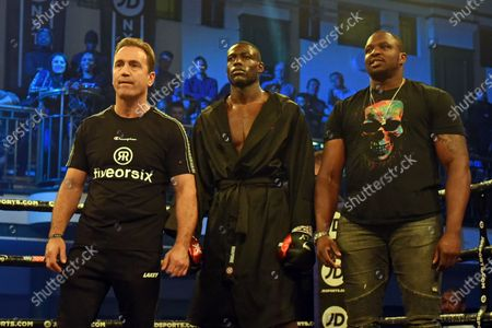 Mark Tibbs (L), Richard Riakporhe and Dillian Whyte during a Boxing Show at York Hall on 19th December 2019