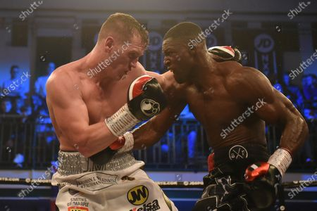 Richard Riakporhe (black shorts) defeats Jack Massey during a Boxing Show at York Hall on 19th December 2019