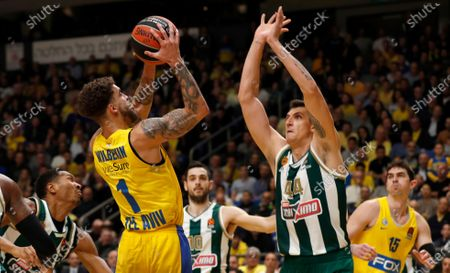 Wesley Johnson of  Panathinaikos  (R) in action against  Scottie Wilbekin of Maccabi Tel Aviv (L) during the EuroLeague basketball match between Maccabi Tel Aviv vs Panathinaikos , at Menora Mivtachim Arena in Tel Aviv, Israel, 19 Decmeber  2019.