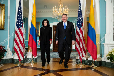 Mike Pompeo, Claudia Blum. Secretary of State Mike Pompeo, right, walks with Colombian Foreign Minister Claudia Blum at the State Department in Washington