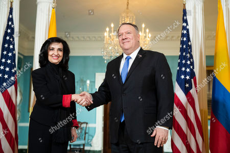 Mike Pompeo, Minister Claudia Blum. Secretary of State Mike Pompeo, right, meets Colombian Foreign Minister Claudia Blum at the State Department in Washington