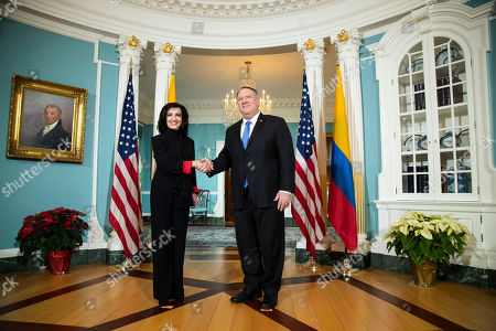 Mike Pompeo, Claudia Blum. Secretary of State Mike Pompeo, right, meets Colombian Foreign Minister Claudia Blum at the State Department in Washington