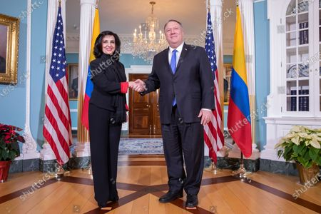 US Secretary of State Mike Pompeo (R) meets with Colombian Foreign Minister Claudia Blum (L) at the State Department in Washington, DC, USA, 19 December 2019.