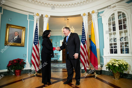 Stock Image of Mike Pompeo, Minister Claudia Blum. Secretary of State Mike Pompeo, right, meets Colombian Foreign Minister Claudia Blum at the State Department in Washington