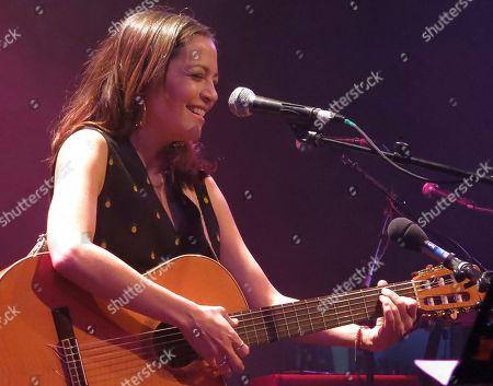 Stock Image of Mexican singer Natalia Lafourcade sings during Kevin Johansen's concert at Mexico City's Lunario