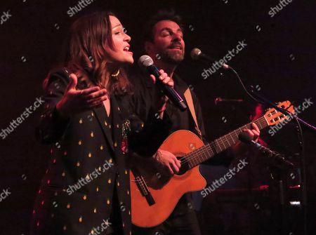 Stock Photo of Kevin Johansen, Natalia Lafourcade. US-argentine singer Kevin Johansen sings with Mexico's Natalia Lafourcade during a concert in Mexico City's Lunario