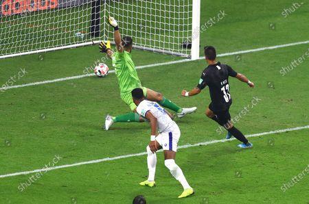 Maximiliano Meza of CF Monterrey scores a goal to make the score 2-1