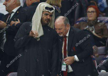 Sheikh Joaan bin Hamad bin Khalifa Al Thani talks with Liverpool CEO Peter Moores