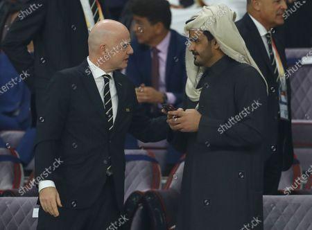 Sheikh Joaan bin Hamad bin Khalifa Al Thani talks with FIFA President Gianni Infantino