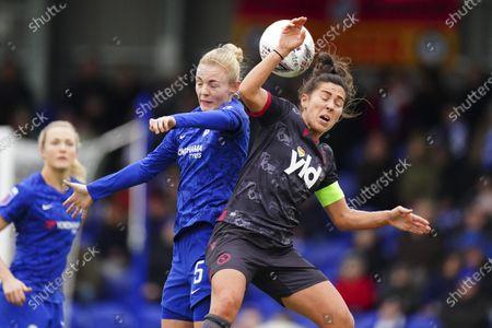 Reading scorer Fara Williams, right, battles with Sophie Ingle of Chelsea Football Club Women