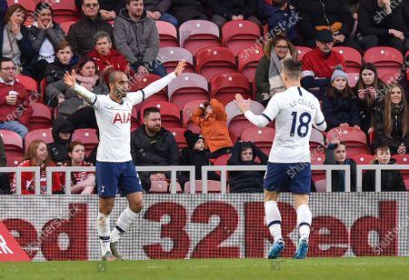 Lucas Moura of Tottenham Hotspur celebrates scoring the equalising goal 1-1