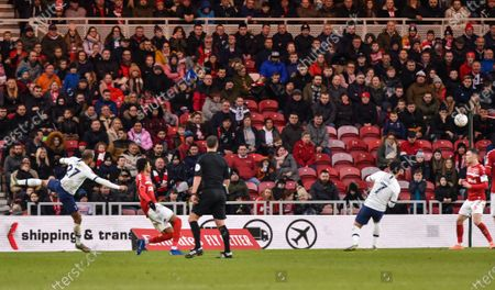 Lucas Moura of Tottenham Hotspur almost gets the winner with this strike saved by Goalkeeper Tomas Mejias of Middlesbrough