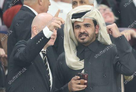 FIFA president Gianni Infantino (L) talks with Sheikh Joaan bin Hamad bin Khalifa Al Thani during the FIFA Club World Cup final soccer match between Liverpool FC and CR Flamengo in Doha, Qatar, 21 December 2019.