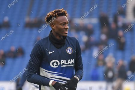 1st January 2020, American Express Community Stadium, Brighton and Hove, England; Premier League, Brighton and Hove Albion v Chelsea :Tammy Abraham (9) of Chelsea FC warming upCredit: Phil Westlake/News Images