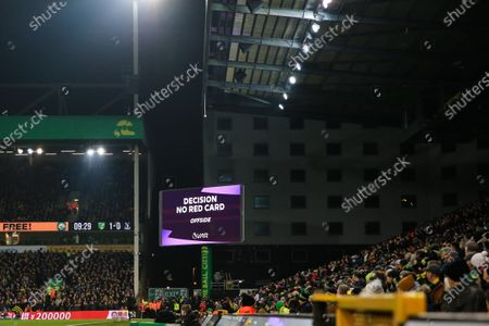1st January 2020, Carrow Road, Norwich, England; Premier League, Norwich City v Crystal Palace : VAR declare no red card against James Tomkins (5) of Crystal Palace for denying a goalscoring opportunity.Credit: Georgie Kerr/News Images