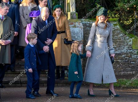 Prince George, Prince William, Princess Charlotte and Catherine Duchess of Cambridge at St Mary Magdalene Church