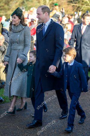 Stock Picture of Catherine Duchess of Cambridge, Princess Charlotte, Prince William and Prince George at St Mary Magdalene Church