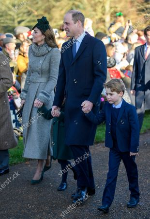 Catherine Duchess of Cambridge, Princess Charlotte, Prince William and Prince George at St Mary Magdalene Church