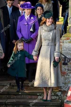 Stock Image of Princess Charlotte and Catherine Duchess of Cambridge at St Mary Magdalene Church