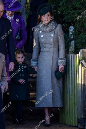 Stock Picture of Princess Charlotte and Catherine Duchess of Cambridge at St Mary Magdalene Church