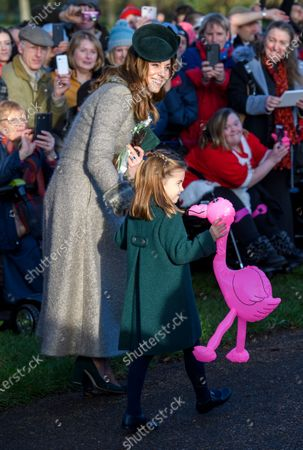 Catherine Duchess of Cambridge and Princess Charlotte at St Mary Magdalene Church