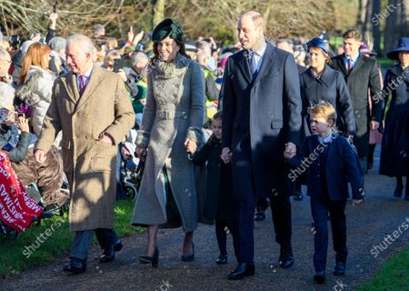 Prince Charles, Catherine Duchess of Cambridge, Princess Charlotte, Prince William, Prince George at St Mary Magdalene Church