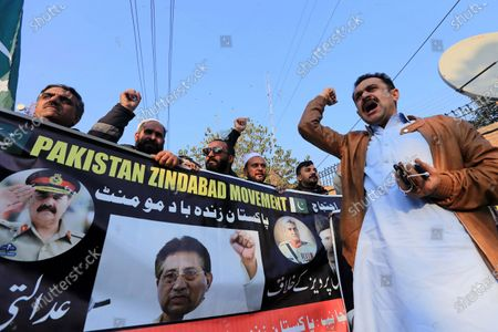 Supporters of former President Pervez Musharraf protest against sentencing Musharraf to death in high treason case in Peshawar, Pakistan, 20 December 2019. A Pakistan court on 17 December sentenced former president and military ruler Pervez Musharraf to death on charges of committing high treason in 2007 when he suspended the constitution and imposed a state of emergency. Musharraf, 76, has been living in Dubai since he was allowed to leave the country in March 2016 for medical treatment after a three-year travel ban.