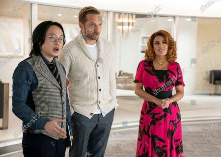 Jimmy O. Yang as Ron, Ryan Hansen as Greg and Salma Hayek as Claire Luna